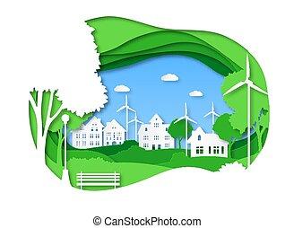 papercut, 緑, 生態系, 技術, 概念, origami, ベクトル, エネルギー, を除けば, eco, 木, energy., city., 町, 選択肢, 太陽, 都市の景観