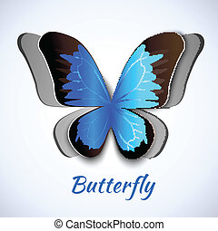 Papercut butterfly card - Cutout paper abstract butterfly...