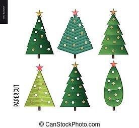 Papercut - christmas trees set - Papercut - decorated...