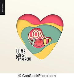 Papercut - colorful layered heart with inscription I Love...