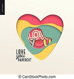 Papercut - colorful layered heart