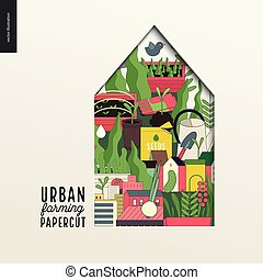 Papercut - colorful layered house on Urban farming,...