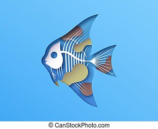 Papercut fish x ray skeleton toxic water pollution