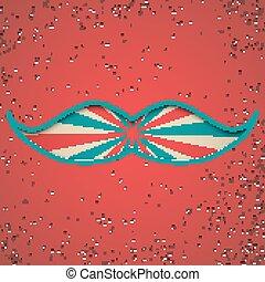 Papercut mustache on vintage background