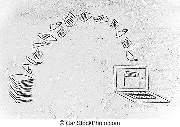 paperless, balayage, documents, tourner, papier, données, ...