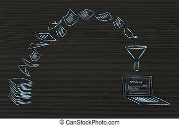 paperless, office:, balayage, documents, et, tourner, papier, dans, données