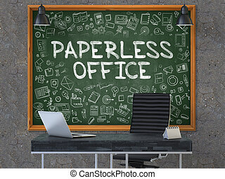 Paperless Office on Chalkboard with Doodle Icons. 3D.