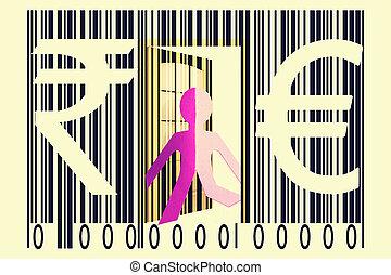 paperman, code, barre, roupie, signes, sortir, euro
