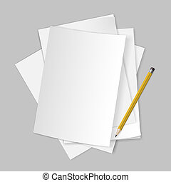 Papers and pencil. - Pile of blank papers with pencil on ...