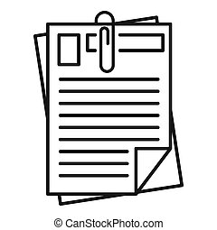 Papers pack icon, outline style