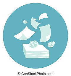 Papers Stack Paperwork Icon Web Button On Round Blue Background