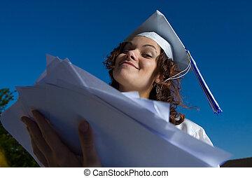 papers., vrouw, jonge, hoop, afstuderen