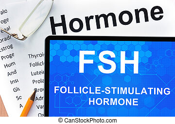 Papers with hormones list and tablet with words follicle-stimulating hormone (FSH).