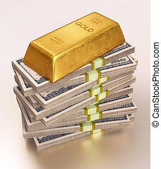 A bar of gold being used as a paperweight for notes dollars. Clipping path included.