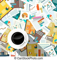 Paperwork Background. Top View Forms, Tax and Documents on Table with Coffee Cup. Vector Flat Design Illustration.