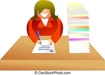 paperwork - business woman sat at a desk writing a letter -...
