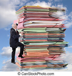 Paperwork climbing - businessman climbing pile of endless...