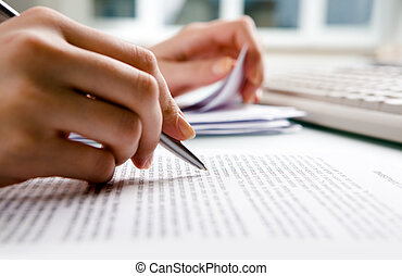 Paperwork  - Close-up of secretary?s hands doing paperwork