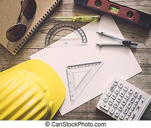 paperwork, com, escrita, materiais, para, arquitetura, ligado, tabela