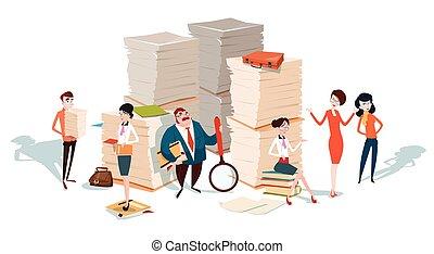 paperwork, handlowy zaludniają, komplecik, papier, teamwork, sztaplowany, dokument