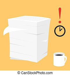 Paperwork illustration. Stack of paper documents - Paperwork...