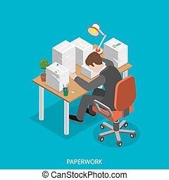 Paperwork isometric flat vector concept. Office worker is...