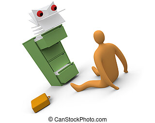 Paperwork Monster #2 - Computer generated image. Metaphor of...