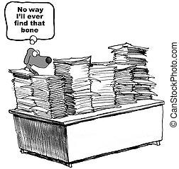 paperwork, pies
