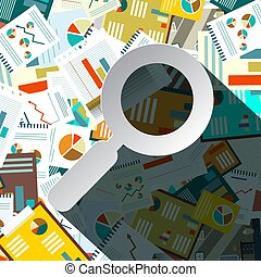 Paperwork Pilee with Paper Magnifying Glass - Vector