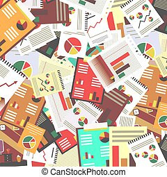 Paperwork Retro Vector Flat Design Background