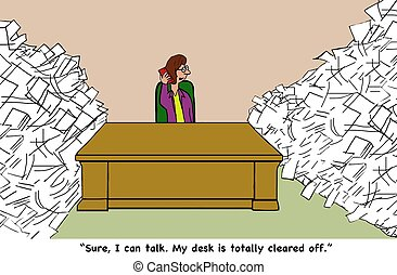Paperwork - Business cartoon about avoiding paperwork.
