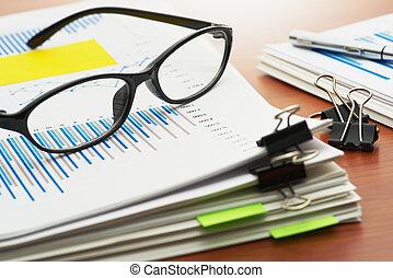 paperwork., tas, de, documents., balayage, reports.