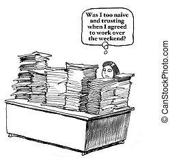paperwork, trabalhador, fim semana