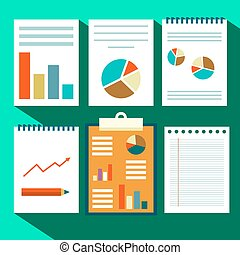 Paperwork Vector Design. Flat Design Retro Paper Sheets with Text and Graphs.