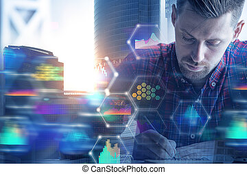 Paperwork with business hologram - Businessman doing ...