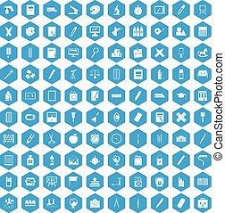 papeterie, bleu, 100, ensemble, icônes