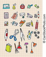 papeterie, dessiner, main