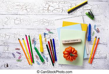 papeterie, différent, étudiant, coloré
