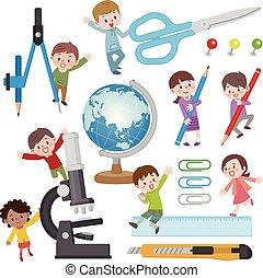 papeterie, enfants, illustration