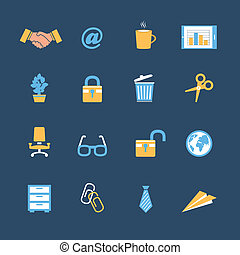 papeterie, ensemble, bureau affaires, icônes
