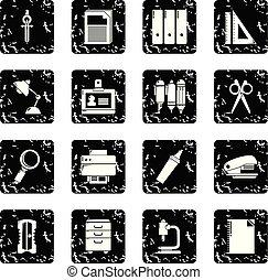 papeterie, ensemble, grunge, vecteur, icônes