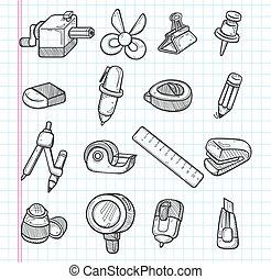 papeterie, ensemble, icônes