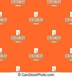 papeterie, modèle, vecteur, bureau, orange