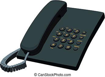 papeterie, téléphone noir, bureau