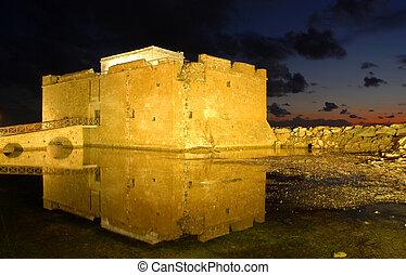 Paphos Castle Cyprus - Paphos Castle late in the evening ...