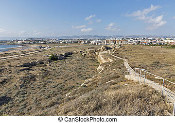Paphos cityscape and ancient city wall ruins in Cyprus