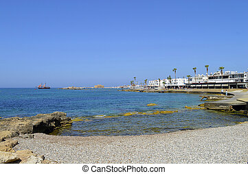 Paphos harbour tall ship in Cyprus