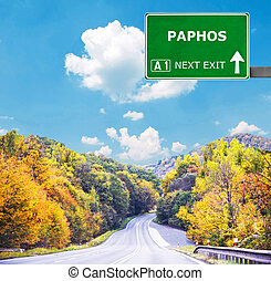 PAPHOS road sign against clear blue sky