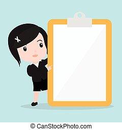 papier, écran, pointage femme, business