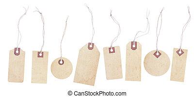 papier, étiquettes, ficelle, vieilli, ensemble, cravates, jaunir